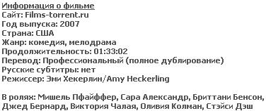 Я никогда не буду твоей (HDRip, 2007)