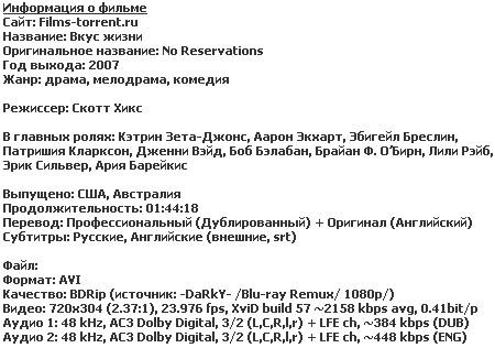 Вкус жизни (BDRip, 2007)