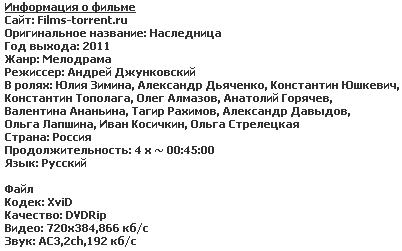 Наследница (2011) (4 серии из 4)