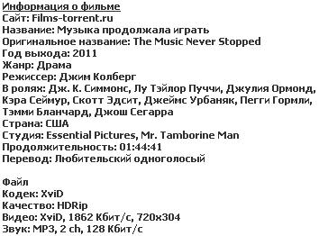 Музыка продолжала играть (2011)