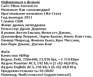 Как сумасшедший (2011)
