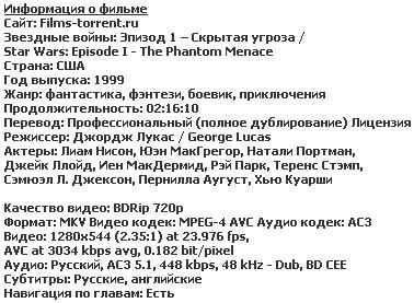 Звездные войны: Эпизод 1 – Скрытая угроза (1999)