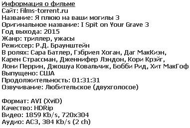 Я плюю на ваши могилы 3 (2015)