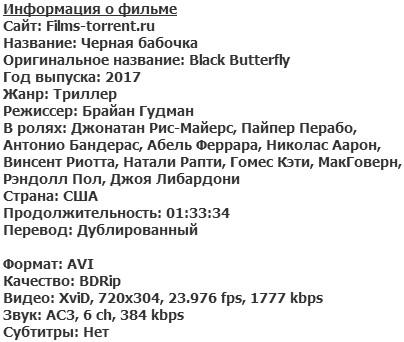 Чёрная бабочка (2017)