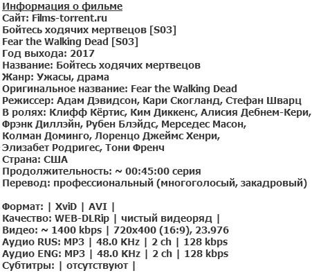 Бойтесь ходячих мертвецов 3 сезон (2017)