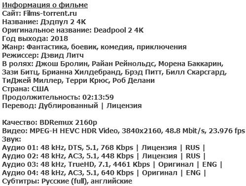 Дэдпул 2 4K (2018)
