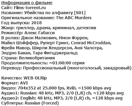 Убийства по алфавиту (2018)