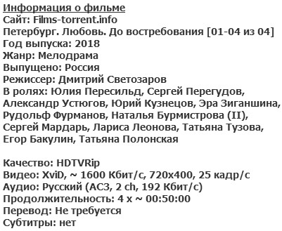 Петербург. Любовь. До востребования (2018)