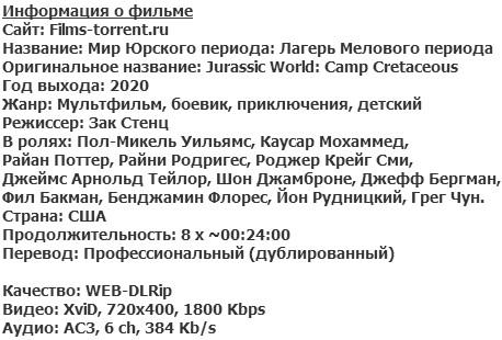Мир Юрского периода: Лагерь Мелового периода (2020)