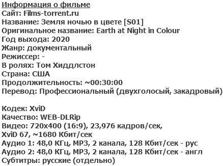 Земля ночью в цвете (2020)