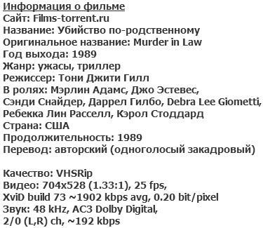 Убийство по-родственному (1989)
