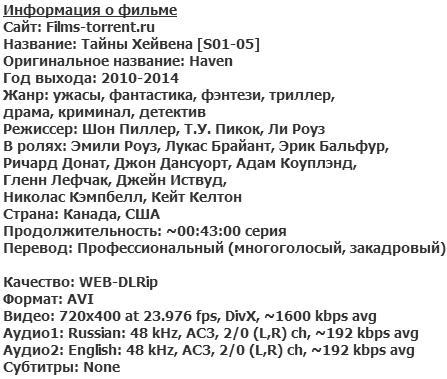 Тайны Хейвена. Все сезоны (2010-2014)